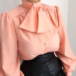 Vintage Apricot Necktie Classic Blouse